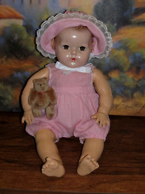 "Adorable 1950's Pink Gingham Check Sunsuit and Bonnet for your 20"" Dy-Dee Baby!"