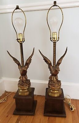 """Vintage pair of Brass Bald Eagle Table Lamps Americana 31"""" Wood Base Beautiful"""