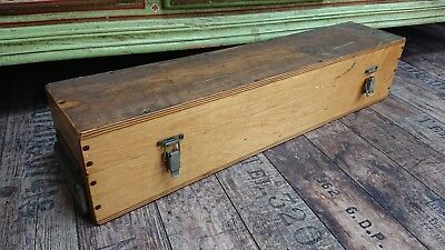 *VINTAGE antique tool industrial trunk Case wooden old decor storage chest box*