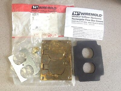 NOS Wiremold Brass Duplex Floor Receptacle Rectangular Box Cover 828R discolored