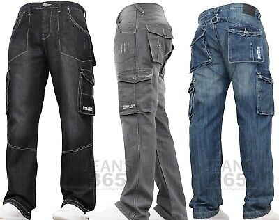New Mens Denim And Dye Cargo Combat Work Tough Smart Multi Pocket Jeans Pants