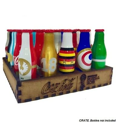 Wood Crate Box Rack Set For Mini Coca Cola Bottles Russia Soccer World Cup 2018
