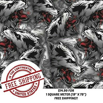 "Hydrographic Water Transfer Hydro Dip Film White Wolf 1Sq (19"" X 78"")"