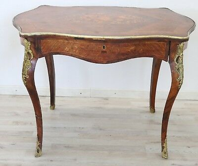 19th Century French Napoleon III Inlay Wood Golden Bronzes Desk or Writing Table