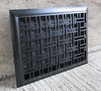 """Antique Cast Iron Wall, Floor Grate Vent - Refinished - Black - (10"""" x 14"""") (#8)"""