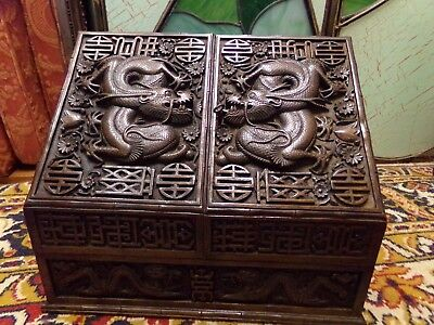 Antique Chinese Wood Stationery Box With Dragons Early 20Th C.