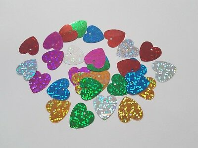 30 x Craft Sequins - Holographic - 17mm - Heart [Various Colours Available]