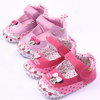 Toddler Baby Girl Minnie Mouse Soft Sole Crib Shoes Prewalker Sneaker 0-18Months