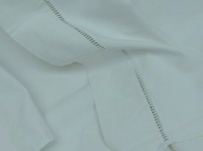 Large French Heavy Sheet Vintage & Antique Linens Cotton Flat Drawn Work Quality