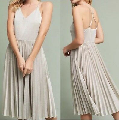 0832ee6dc71a ANTHROPOLOGIE ELEVENSES SILVER Lunar Dress Pleated $168 Size 8 M ...