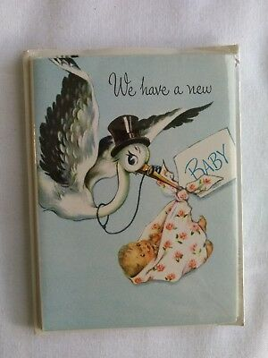 Vintage 1940s 1950s Stork Baby Birth Announcements NOS