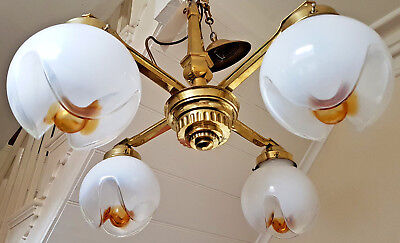 Vintage Brass Chandelier 4 arms with Murano Glass Shades Art Deco