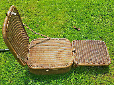 Folding Seat and Stool for Garden, Camping, Picnics - Antique Wicker Portable