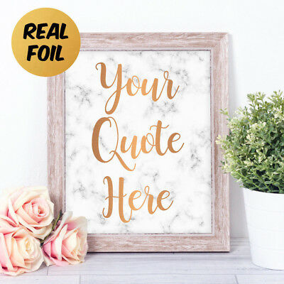 Personalised CUSTOM QUOTE Real Foil Marble Word Art Print Gift Mother's Day