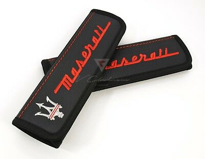 Car Seat Belt Leather Shoulder Pads Covers for Maserati Embroidery Red Logo