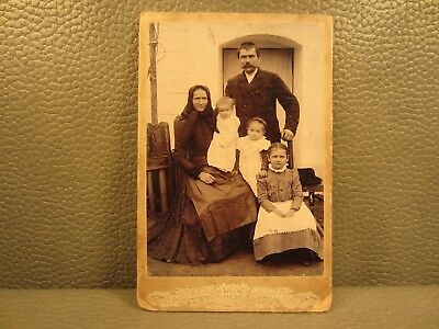 Victorian Antique Cabinet Card Family Photo.......Mother, Father, Children, Kids