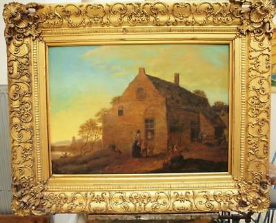 LARGE 18TH CENTURY DUTCH OLD MASTER Antique Landscape Oil Painting on panel