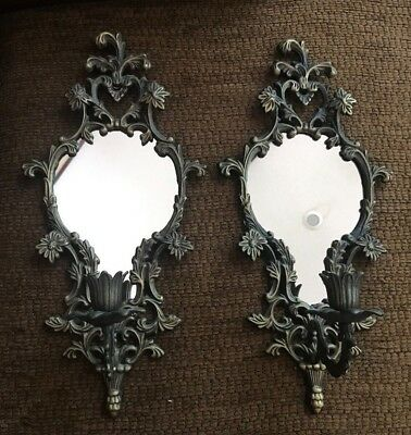 Pair of Antique Victorian Ornate Wall Mirror Sconces Candle Holders  VTG