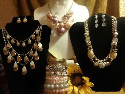 Vintage To Mod Costume Lot Bubble Chunky Bead Necklaces Bracelets Earrings