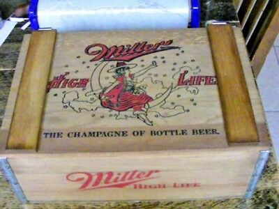 "Miller High Life Beer Wooden Crate Box with Lid  18"" X 12"" X 7.5"""