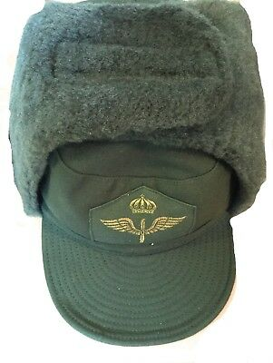 Swedish army air force green nylon fur lined winter hat  unused size 60cm