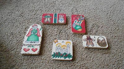 Lot of 5 Handmade Pressboard Christmas Ornaments covered in fabric Country Cool!