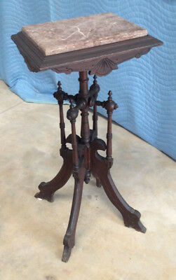 Walnut Candle/Plant Stand:c1880s-90s; Red Tenn Marble Insert: Original Condition