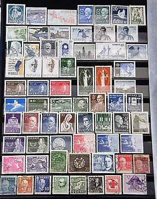 SWEDEN - Mixed lot of 67 Stamps, most Good - Fine Used, LH