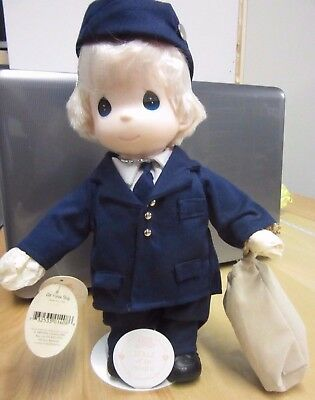 """Precious Moments Doll Collection """"Air Force Boy"""" With Stand 12"""" Uniform Duffle"""
