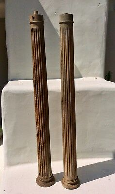 "PAIR 40"" Tall Antique Wood Columns, Architectural Salvage, Display, Early 1900's"