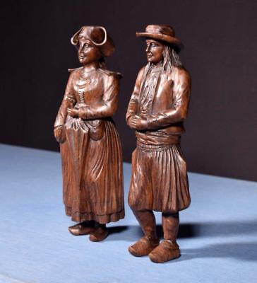 "*12"" Pair of French Antique Hand Carved Breton Chestnut Figures"