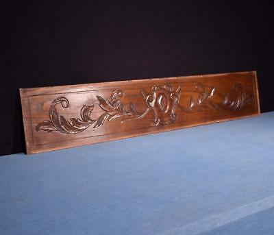 "*45"" French Antique Hand Carved Architectural Panel Solid Chestnut Wood Trim"