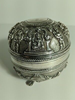 Antique Silver Indian/Burmese/Hindu trinket/tea round box, very detailed!
