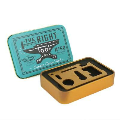 Brass Credit Card Tool - 10 Functions Stainless Steel Fits in Wallet