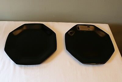 Set Of 2 Vintage Arcoroc France Octime Black Octagonal Dinner Plates