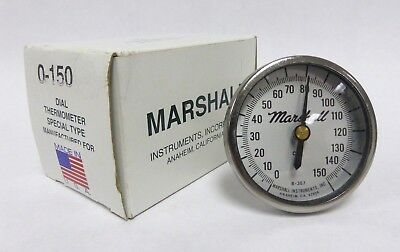 """Marshall SS Dial Thermometer 0-150F, 2-1/4"""" Dial, 2-1/2"""" Stem, 1/4"""" NPT CB (A-1)"""