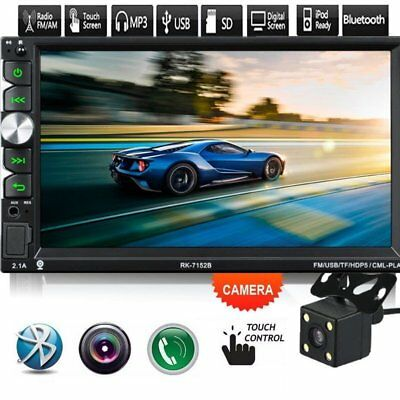 """1080P 7"""" Touch Screen Car Bluetooth MP5 Player Stereo Radio with Rear Camera QC"""