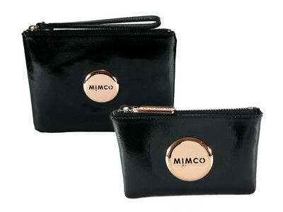 Mimco black medium and small patent leather pouch rose gold hardware package