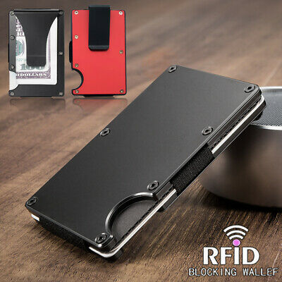 Mens RFID Blocking Slim Money Clip Wallet Credit Card ID Holder Thin Minimalist