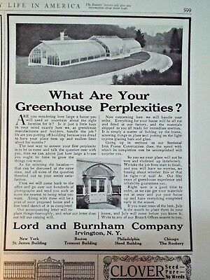 1910 = LORD & BURNHAM Greenhouses Broadway New York ad Country Life in America