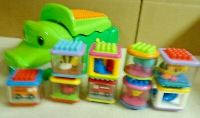 Fisher  Price  Build  &  Spill  Alligator  With  9  Peek A Block Bristle Blocks