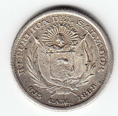 EL SALVADOR 5 centavos 1893 KM109 Ag 2yr type HIGH GRADE minted 80,000 VERY RARE