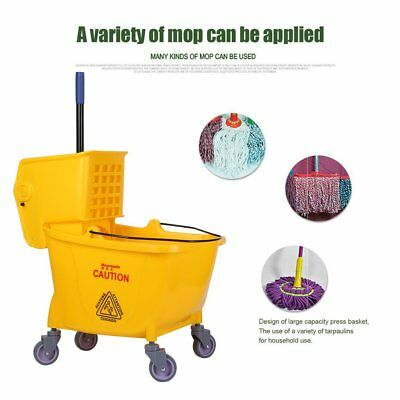 Rolling Mini Side Press Mop Bucket with Wringer 33qt / 8.45 Gallons/32L Yellow M
