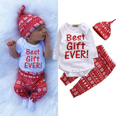 Lovely Newborn Infant Baby Boy Girl Romper Pants Christmas Outfit Clothes Set UK