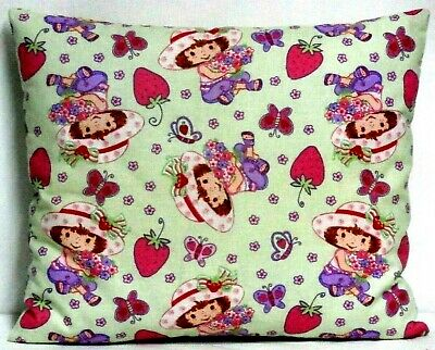 Strawberry Shortcake Toddler Pillow on Green 100%Cotton ST2-20 New Handmade