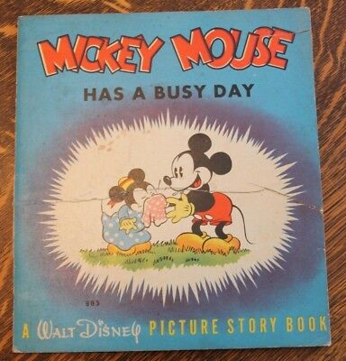 Vintage 1937 Softcover Book MICKEY MOUSE HAS A BUSY DAY Walt Disney Whitman