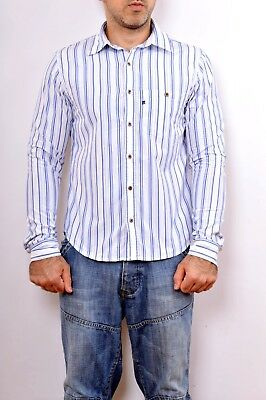 Polo Ralph Lauren Cotton Shirt Striped Navy/Sky Blue White M Auth. Casuals GOOD