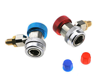 2PCS  Car A/C Air Condition Quick Coupler Adapter H/L Manifold Connector R134A