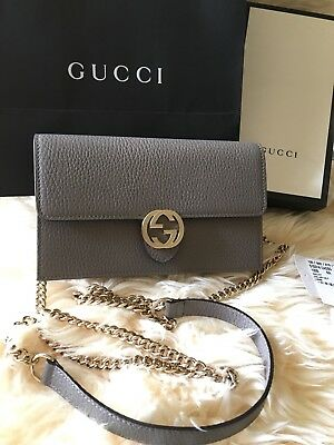 e9f4eab5f43 NIB GUCCI INTERLOCKING G Crossbody Chain Clutch Mini Handbag Bag ...