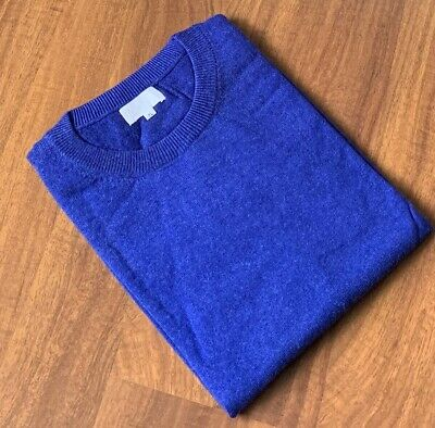 Royal Blue Color Cashmere 100% Pashmina Round-neck Sweater Jumper Cardigan Top